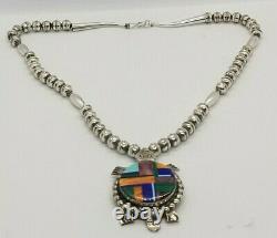 Navajo Alvin Yellowhorse. 925 Sterling Silver Necklace & Stone Turtle Pendant