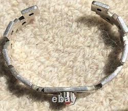 Navajo Native American Alvin Tso Heavy Silver 925 Coral Cuff Bracelet