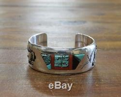 Navajo Sterling Silver Multi-Stone Inlay Horse Cuff Bracelet by Alvin Begay