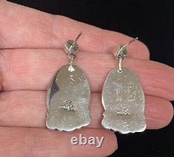 Navajo Sterling Silver Opal Earrings Alvin Joe