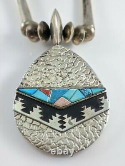 Navajo Sterling Silver Turquoise Coral Necklace Alvin & Lula Begay Reversible