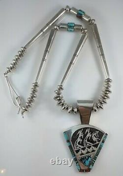 Navajo Sterling Silver Turquoise Coral Necklace Award Winning Alvin & Lula Begay