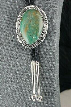 Navajo Turquoise & Sterling Silver Bolo Tie Alvin Joe