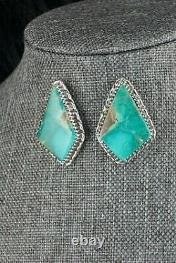 Navajo Turquoise & Sterling Silver Earrings Alvin Joe