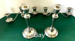 Pair ALVIN STERLING-SILVER-Candle Stick Holder Candelabras 4 sections