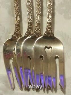 Set/4 Alvin Sterling Silver BRIDAL BOUQUET 1932 Salad Fork 6-1/2 No Mono