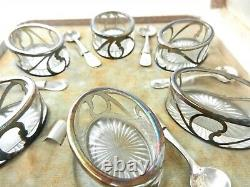 Set of 6 Alvin Sterling Silver Overlay Salt Dips Cellars withSpoons Oval Glass T82