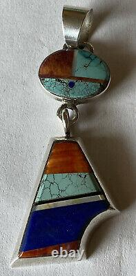 Signed Navajo Alvin Yellowhorse Sterling Silver Inlay Pendant
