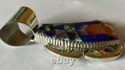 Signed Navajo Alvin Yellowhorse Sterling Silver Monument Valley Inlay Pendant