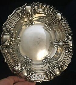 Splendid Antique Alvin Sterling Silver Art Nouveau Floral Design 8 1/2 Bowl