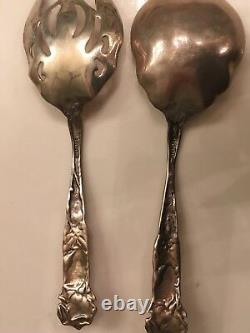 Sterling Cold Meat Serving Fork & Serving Spoon. Bridal Rose Pattern. Never Used