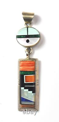 Sterling Silver Alvin Yellowhorse Inlay MOP Spiny Oyster Pendant 2-1/2 x 16mm