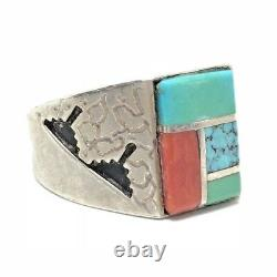 TURQUOISE Sterling Silver Inlay Square Navajo Ring Vintage 12 ALVIN & LULA BEGAY