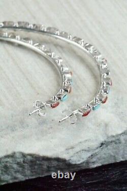 Turquoise, Coral & Silver Hoop Earrings Alvin & Aurelia Hughte