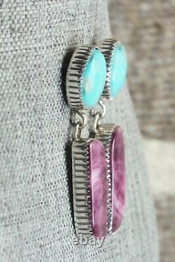 Turquoise, Spiny Oyster & Sterling Silver Earrings Alvin Joe