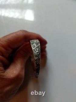 Vintage 1932 Alvin Sterling Silver Bridal Bouquet Cuff Bracelet, No Mono