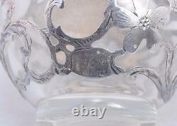 Vintage Alvin Glass & 999 Fine Silver Overlay Perfume Bottle 4.5 Art Nouveau