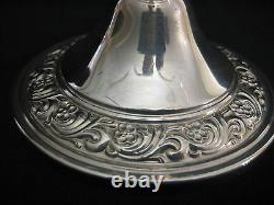 Vintage Alvin Sterling Silver & Glass Compote With Ruffled Rim, 5 1/2 T X 8 D