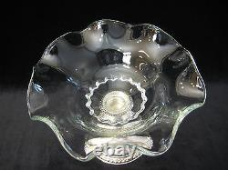 Vintage Alvin Sterling Silver & Glass Compote With Ruffled Rim, 6 T X 7 1/2 D