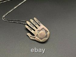 Vintage Navajo Alvin Monte Sterling Silver Hand Stampwork Pin Brooch Pendant