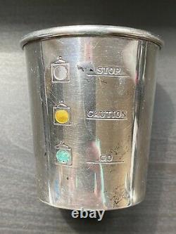 Vtg Alvin Sterling Silver Stoplight Jigger Shot Glass Go Caution Stop S275