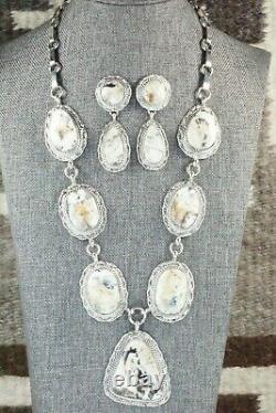 White Buffalo & Sterling Silver Necklace and Earrings Alvin Joe