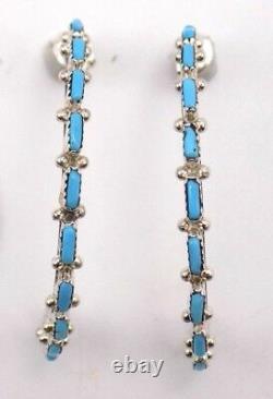 Zuni Handmade Sleeping Beauty Hoop Earrings In Sterling Silver Alvin Wright