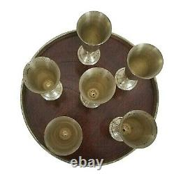 6 Alvin Sterling Silver S247 Cordials And Tray Set Vtg