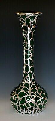 Alvin Co. Sterling Silver Overlay 14 Vase Excellent État Vers 1898 1911