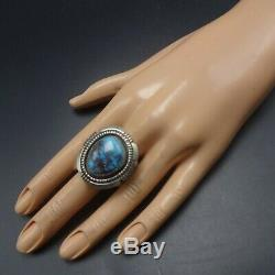 Alvin Joe Navajo Argent Sterling Taille Énorme Ring Bisbee Turquoise 12.5 Wide Band