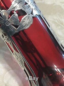 Alvin Mfg. Co Cranberry & Sterling Vase D'argent Overlay