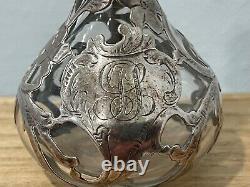 Alvin Mfg. Co Sterling Silver Overlay Parfum Scent Bouteille Avec Décoration Florale