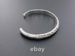 Alvin Toadacheene Navajo 925 Argent Sterling Cuff Bracelet Gravé Sud-ouest 5.75