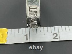 Alvin Toadacheene Navajo 925 Argent Sterling Cuff Bracelet Gravé Sud-ouest 6.5