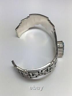 Alvin Tso Navajo Sterling Silver Navajo Numéro 8 Turquoise Cuff Bracelet 6 3/8
