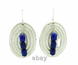 Alvin Yellowhorse, Boucles D'oreilles, Lapis Lazuli, Français Hook, Navajo Handmade, 2