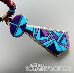Alvin Yellowhorse Navajo 925 Turquoise Sugilite Inlay Tie Collier De Perles