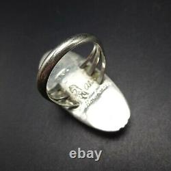 Alvin Yellowhorse Navajo Heavy Gauge Sterling Silver Channel Inlay Ring Taille 7,5