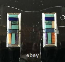 Alvin Yellowhorse Navajo Jauge Lourde Argent Sterling Channel Inlay Clip Earrsings