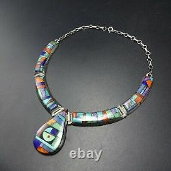 Alvin Yellowhorse Navajo Jauge Lourde Argent Sterling Channel Inlay Necklace