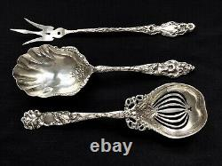 American Sterling Silver Serving Pieces (3) Poss. Alvin Bridal Rose Whiting Lily