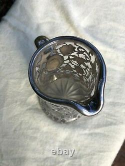 Antique Alvin Argent Sterling 999/1000 Raisins Pitcher Overlay Carafe En Cristal