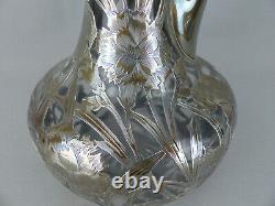Antique Alvin Art Nouveau Argent Sterling Superposition Florale Decanter #3617 Ca1900