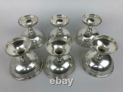 Antique Alvin Ensemble De 6 Sterling Silver Sherbet Dessert Cups + Inserts En Verre Doré
