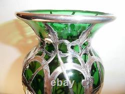Antique Alvin, Gorham Vase En Verre Superposition Sterling Très Grand