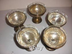 Antique Alvin Lot De 5 Argent Sterling Sorbet Dessert Coupes Verre Gravé Inserts