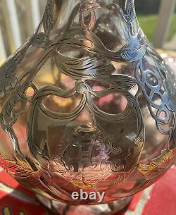 Antique Alvin Sterling Silver 999/1000 Superposition Crystal Decanter Grapes 11 Inch