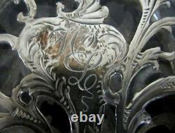 Antique Alvin Sterling Silver Overlay Crystal Flask