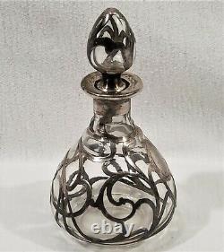 Antique Art Nouveau Alvin Fine Sterling Silver Overlay Bouteille De Parfum 999/1000
