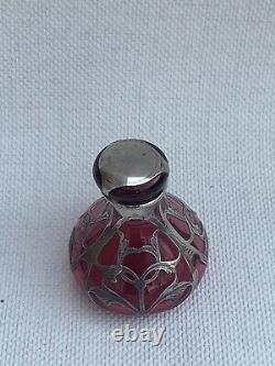 Antique Art Nouveau Alvin Mfg Co Cranberry Glass Sterling Silver Perfume Bottle